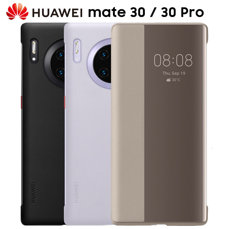 Official HUAWEI MATE 30 Pro Case Original Smart View Flip Cover HUAWEI MATE 30 5G Case Mirror Window Leather wake sleep Cover