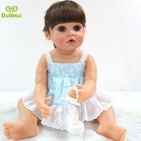 DollMai bebe reborn sweet girl twins newborn dolls full silicone vinyl baby reborn doll for children gift bathe toys