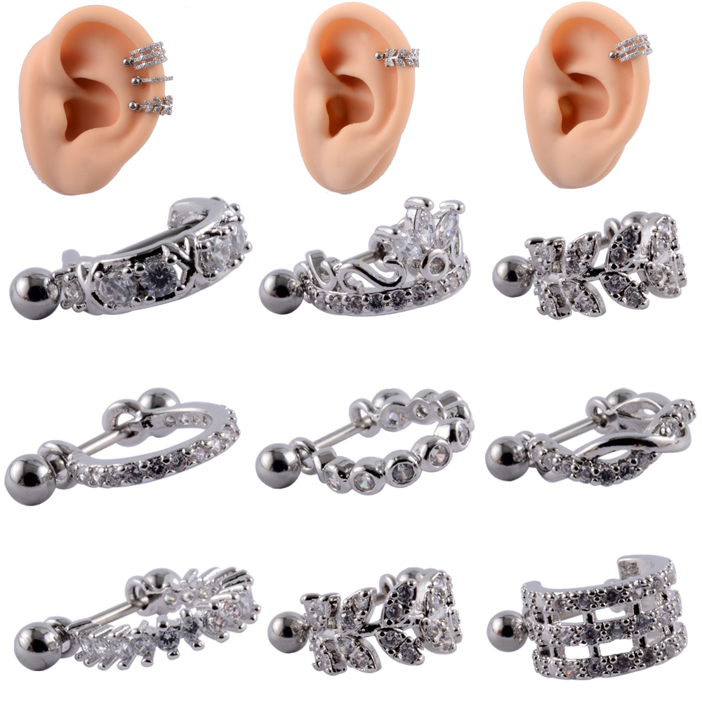 1pc Ear Tragus Cartilage Ring Stainless Steel Barbell With Cz Hoop Cartilage Cuff piercing Helix Daith Rook Lobe Earrings
