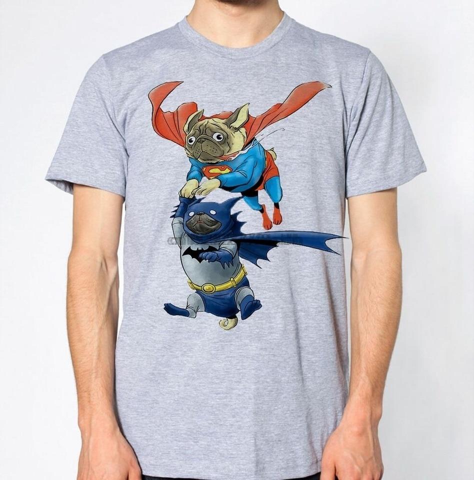 Pug Superman /& Batman Parody Hilarious Funny Top Dog Puppy Superhero New T-Shirt