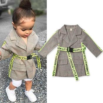 2019 модные зимние пальто для маленьких девочек пальто в клетку с поясом Верхняя одежда в деловом стиле От 0 до 5 лет