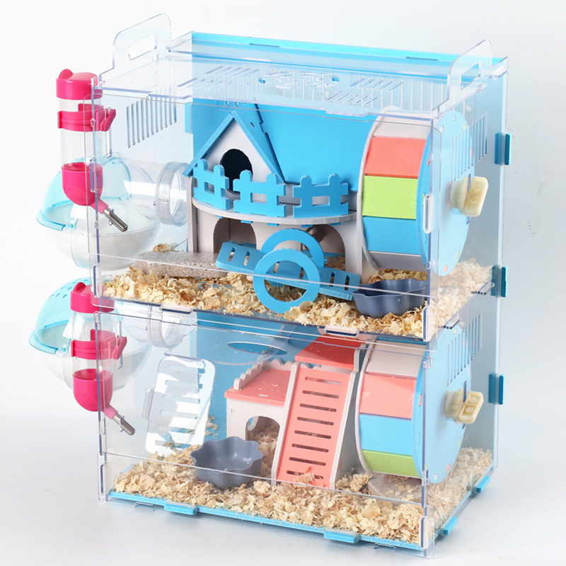 Hamster Cage Acrylic Super Villa Golden Bear Transparent Single And Double Layer Castle Foundation  Luxury