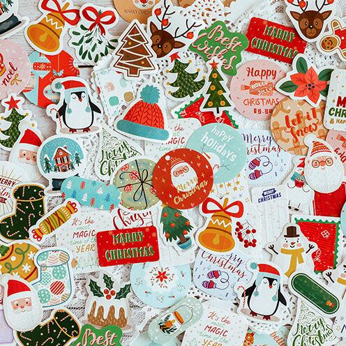 45pcs/pack New Christmas Tree Festival Decorative Sticker Scrapbooking Adhesive Stickers Diary Albums Cute Papeterie Stationery