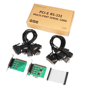 PCI-Express to 16 Port Serial RS232 Expansion Card Two DB62 to DB9 Fan-out Cable