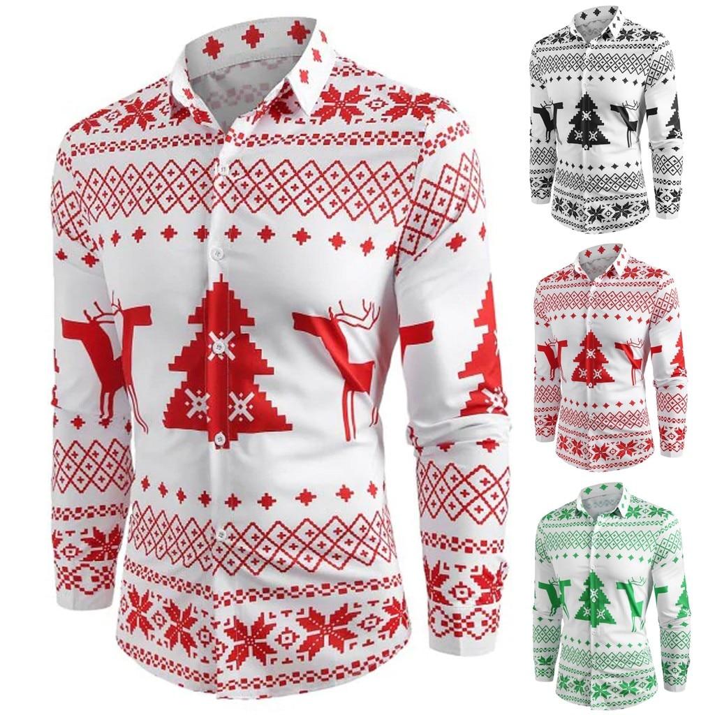 Fashion Shirts Long Sleeve Clothes Men Casual Shirt Christmas Blouse Tops Elk Snowflake Print Camisa Masculina Camisas Hombre