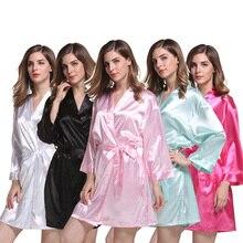 Roupões de seda vestidos de festa de noiva robe de casamento roupões de noiva mangas compridas roupões de dama de honra macio pijamas wq35