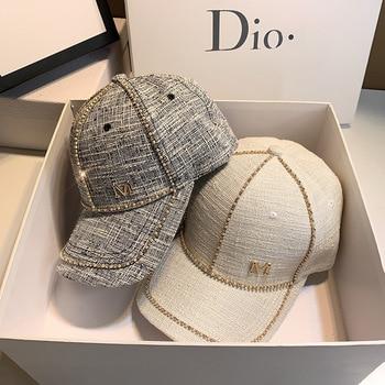 2021 Spring New Women Rhinestone Letter M Baseball Caps Adjustable Hip Hop Fashion Shiny Hats Outdoor Travel All-match Caps