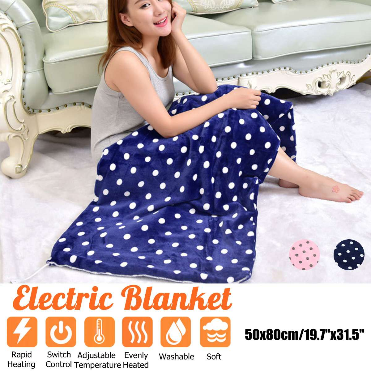 50x80cm Multifunctional Electric Heating Blanket Mat Knee Blanket Warm Blanket Far Infrared Hot Compress Therapy Blanket Carpets