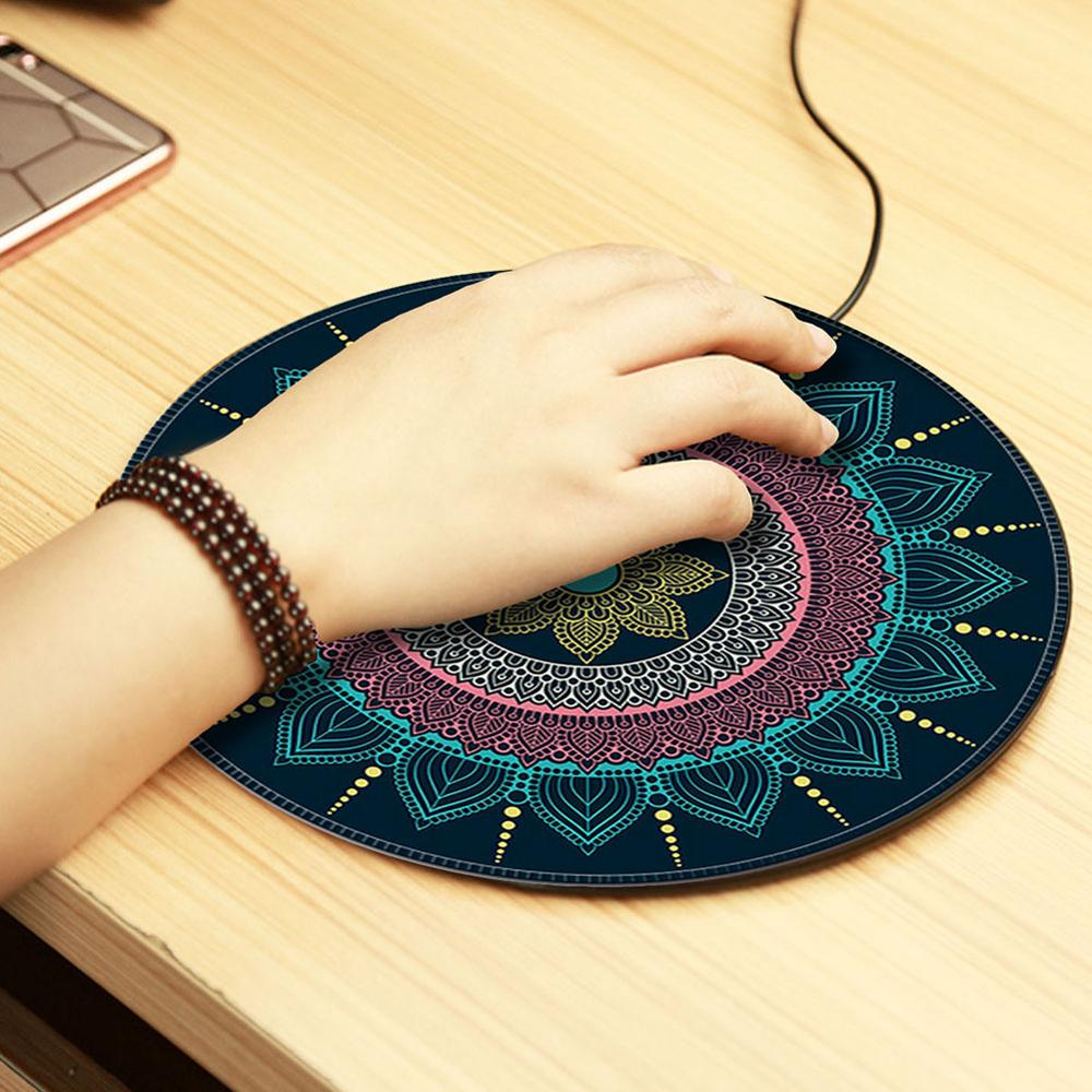 Vintage Bohemian Mouse Pad Round Shape Gaming Mouse Pad Carpet Anti Slip <font><b>Mousepad</b></font> 20cm tapis de souris for MacBook <font><b>xiaomi</b></font> Lenovo image