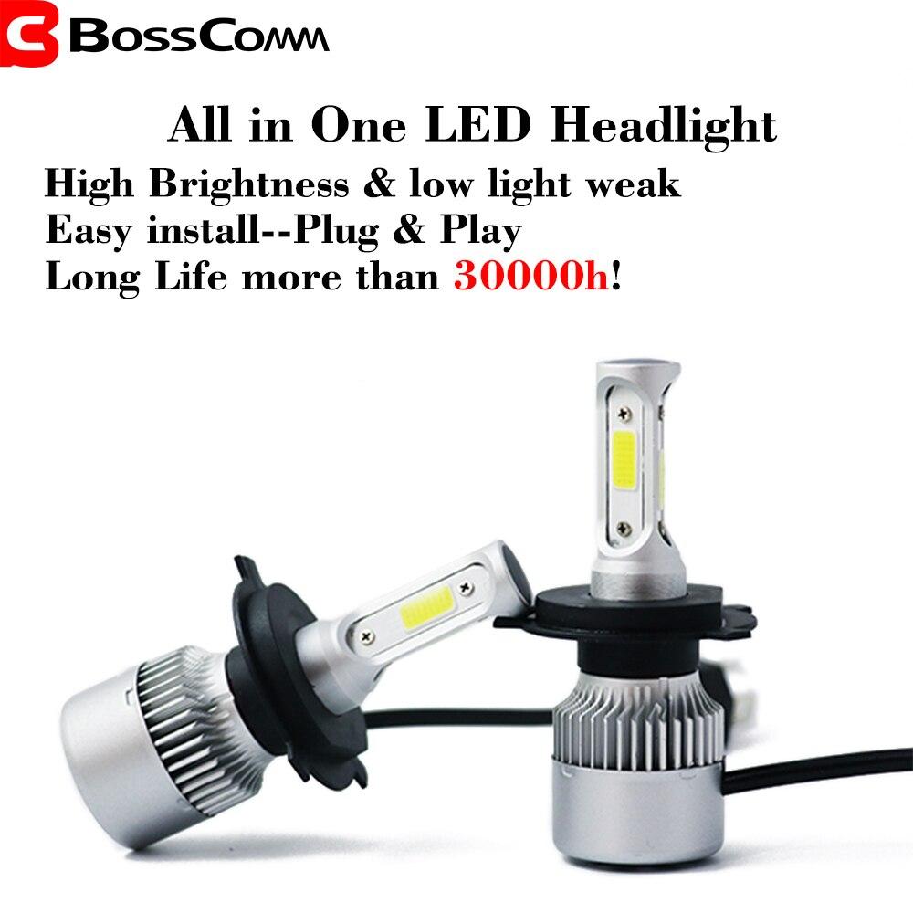 Автомобильный светодиодный головной светильник H4 72W фары для 7200LM H7 H1 H11 9005 HB3 9006 HB4 6000K светодиодный светильник с Водонепроницаемый для всех а...