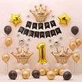 67 шт./компл. 1st День рождения Декорации Мальчик девушка с воздушными шарами Золотая Корона космического пространства Фольга Ballloon Baby Shower Детс...