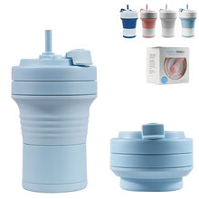 Food Grade Silicone Coffee Cups With Straw BPA FREE 550/750ML Water Cup Outdoors Camping Hiking Foldable Water Bottle(China)