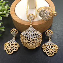 Lanyika Jewelry Graceful  Skirt Hem Circle Micro Plated Necklace with Earrings and Ring for Engagement Trendy Gift