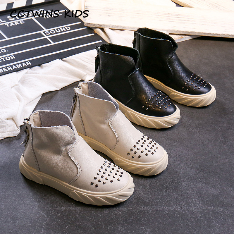 CCTWINS Kids Shoes 2019 Autumn Fashion Girls Real Leather Rivets Boots Boys Casual Black Shoe Children Breathable Booties FB1656(China)