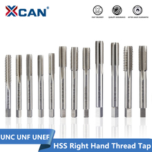 XCAN 1pc 5/16 3/8 7/16 1/2 5/8 3/4 UNC UNF UNEF HSS Machine Plug Tap Straight Flute Screw Tap Right Hand Thread Tap Drill 1 2 28 unef 5 8 24 unef hand tap round die cut hss right hand tapping tool for hand tap tools tapping set