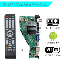 Android 8.0 1g + 4g 4 núcleos msd358v5.0 inteligente rede sem fio wi fi tv lcd driver board controlador universal 3.3/5/12v