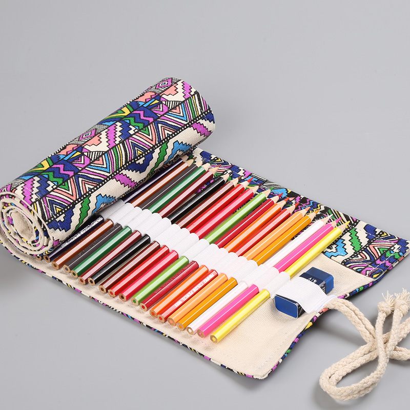 Simple Pencil Case 12/24/36/48/72 Hole Ethnic Style Canvas Printing Sketch Color Pencil Curtain DC386