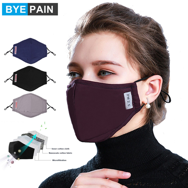 1Pcs BYEPAIN Cotton PM2.5 Black mouth Mask anti dust Activated carbon filter Windproof Mouth-muffle bacteria proof Flu masks