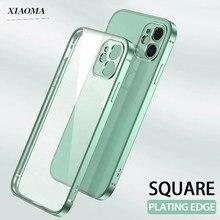 Chapeamento de luxo moldura quadrada transparente caso para iphone 12 11 pro max mini iphone se 2020 x xs xr 6s 7 8 plus capa macia clara