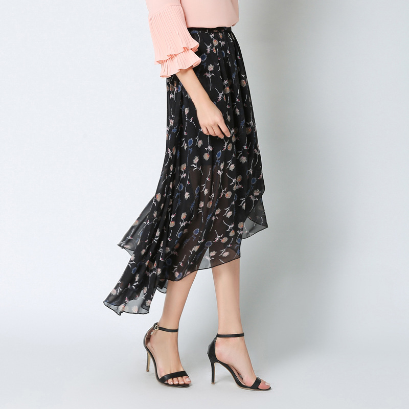 New Style Women's Summer Floral-Print Chiffon Maxi Dress Big Hemline Lotus Leaf Skirt Large Size 2019 Qi Yards 516