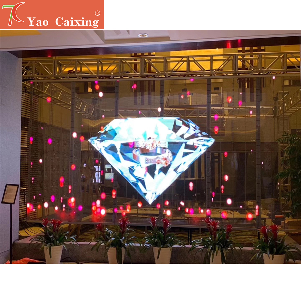 P3.91 Dot Matrix Transparent Curtain Screen Indoor Full Color Glass Window Display Video Wall