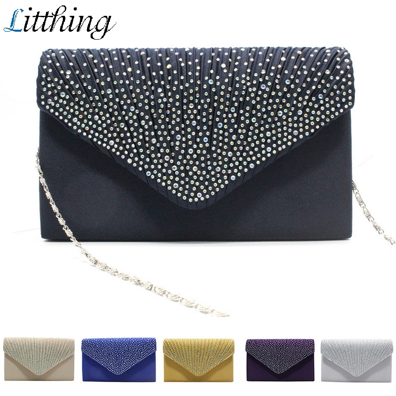 2019 New Women's Diamond Satin Hand Bag Ladies Fashion Envelope  Shoulder Dinner Bag Clutch Bag Party Evening Bags