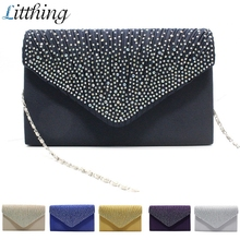 2019 New Women's Diamond Satin Hand Bag Ladies Fashion Envel