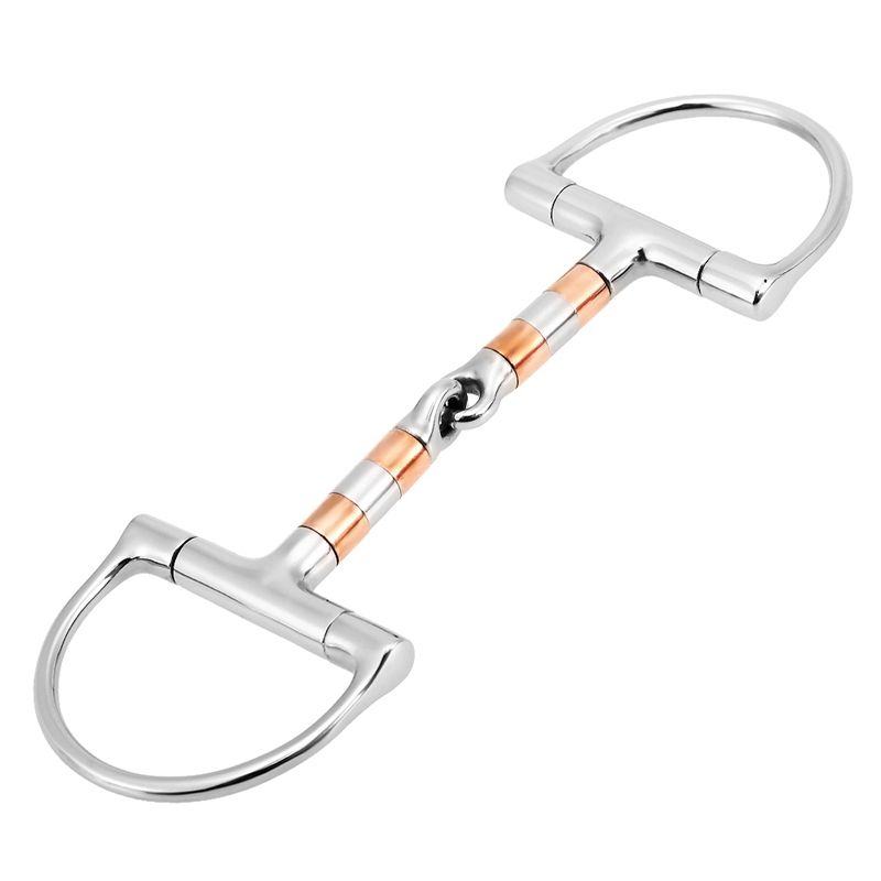 Equestrian Horse Mouth Bit Stainless Steel Horse Mouth Piece Snaffle Double Jointed Bit Horse Racing Accessory