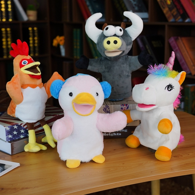 30cm NEW Plush Hand Puppets Cartoon Animals Unicorn Penguin Cattle Cock For Toddler Children Tell Story Stage Play Props 1