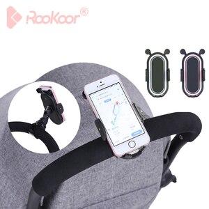 Image 1 - HX 360 Degree Rotate Baby Stroller Accessories Universal Holder Adjustable Mount Bracket Mobile Phone Stander Black White Pink