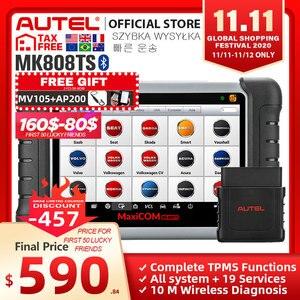 Image 1 - Autel MaxiCOM MK808TS OBD2 ماسح مزود بتقنية البلوتوث Automotivo سيارة التشخيص أداة مسح ضوئي OBD 2 البرمجة مستشعر تساوي ضغط الإطارات PK MK808 MP808TS