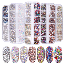 1 Box Multi Size Glass Rhinestones Mixed Colors Flat back AB Colors Tip 3D Charms DIY Tips  Nail Art Decorations