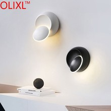 OLIXL 5W Led Round Wall Lights Decoration Bed Side Lamp For Bedroom Loft Sconce Light 360° Rotatable For Modern Home Interior
