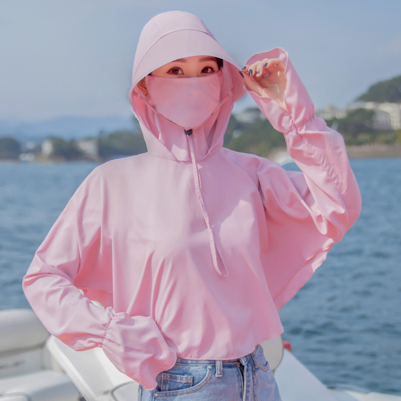 Summer Outdoor Riding E-BIKE Coat Masked Hooded Quick-Dry Breathable Sun Protection Clothing Women's Short Wind Shield