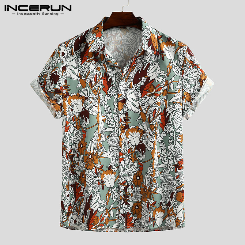 Fashion Men Casual Shirt Printing 2020 Short Sleeve Breathable Vacation Lapel Tops Summer Streetwear Hawaiian Shirts Men INCERUN