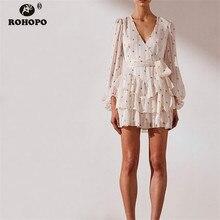 ROHOPO Women Paramecium Chic Long Sleeve Cake Cascading Ruffles White Dress Belted Mini Party Tunic Vestido #9237