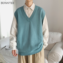 Men Sweater Vest Knitted Streetwear Korean Sleeveless V-Neck Chic Male Solid Casual Daily