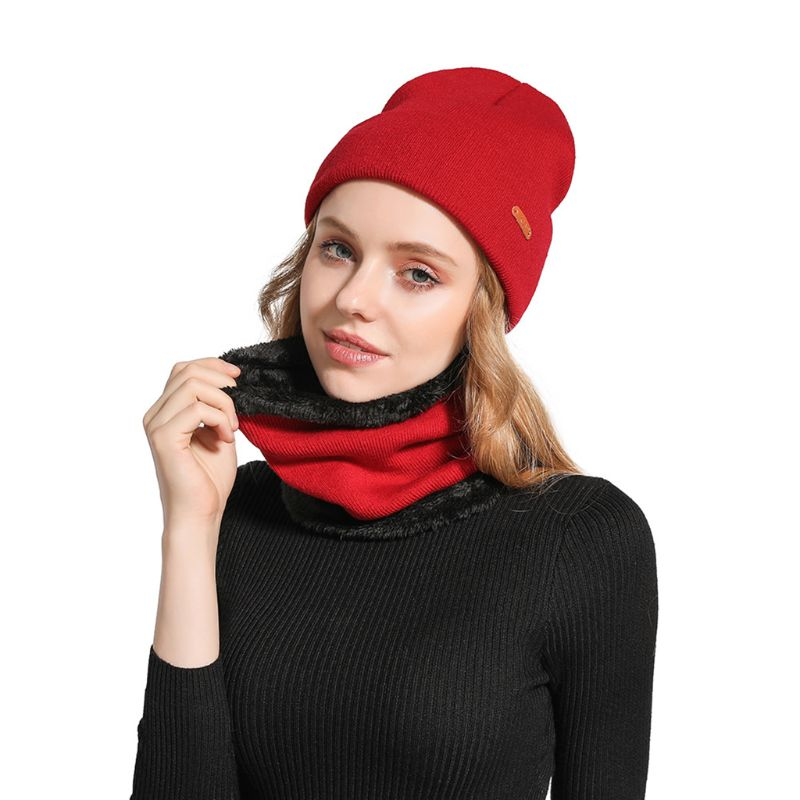 Adult Kids Slouchy Knitted Beanie Hat Scarf Set Cuffed Solid Color Slouchy Ski Cap Winter Thicken Plush Lined Circle Neck Warmer