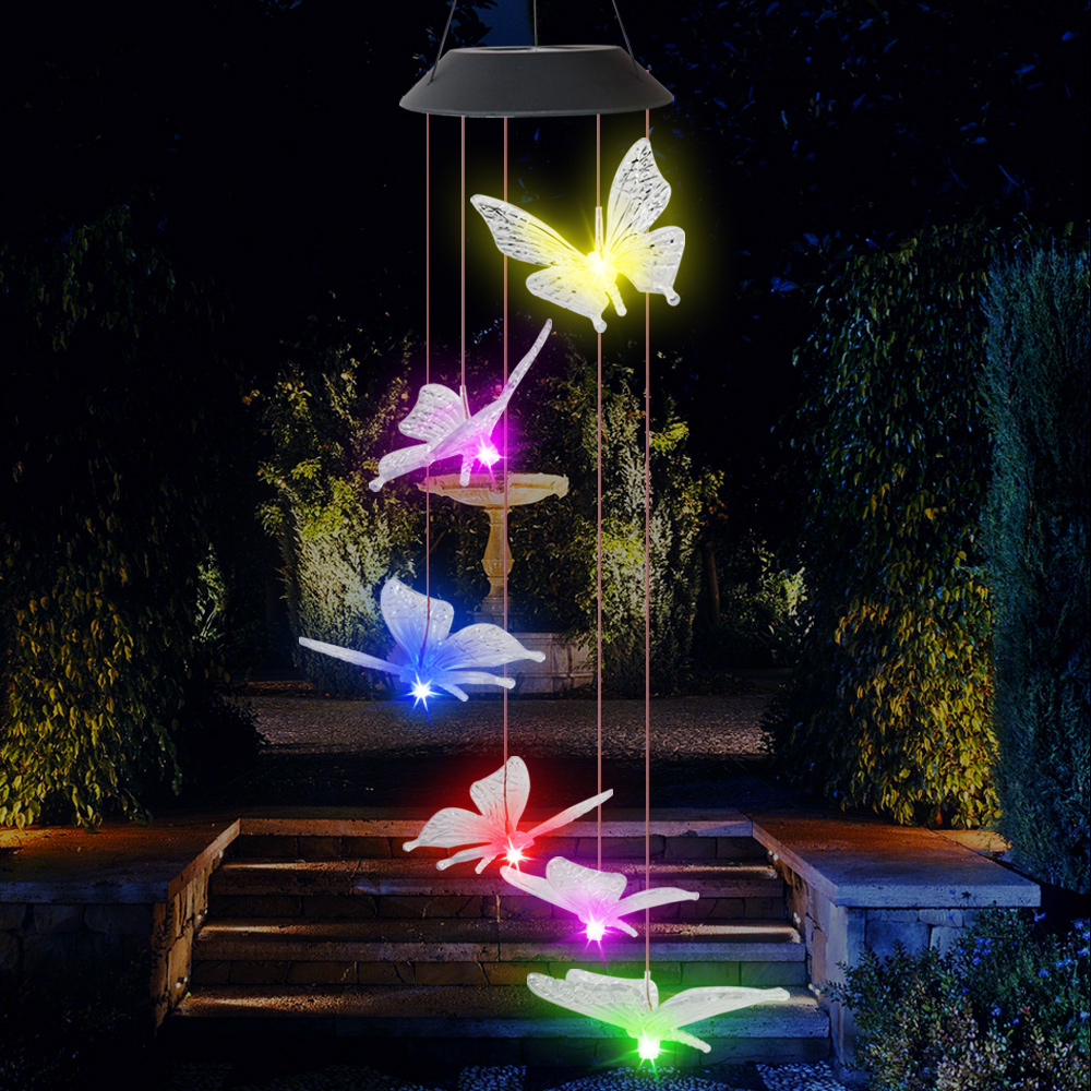 lowest price Butterfly Wind Chime lights Solar Powered Garden Yard Hanging Spinner Lamp Decor Outdoor solar waterproof wind chime light D30