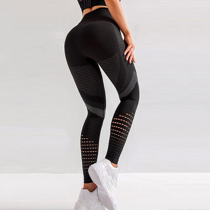 CHRLEISURE Women High Waist Push Up Leggings Hollow Fitness Leggins Workout Legging For Women Casual Jeggings 4Color 4