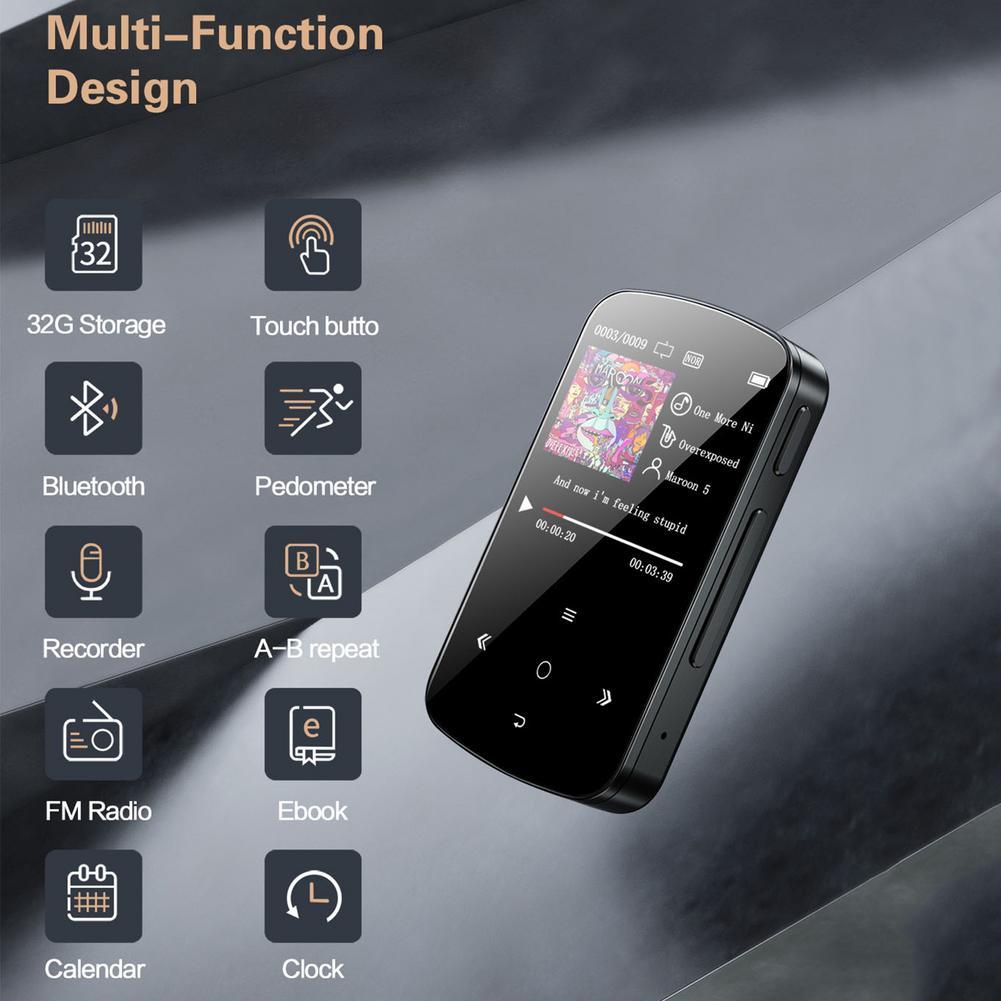 Reproductor MP3 con Bluetooth y pantalla táctil, dispositivo de música de 32G, sin pérdidas, sonido HiFi, compatible con grabación, Radio FM, podómetro, Walkman portátil