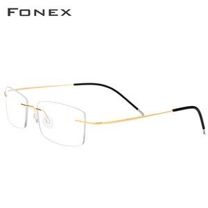 Image 3 - FONEX سبائك التيتانيوم بدون إطار نظارات الرجال مربع وصفة النظارات رجل فرملس قصر النظر إطارات النظارات البصرية 76127