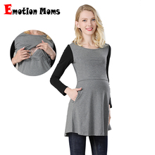 Emotion Moms Nursing Top Breastfeeding Tops Cotton spring Long Maternity Clothes  for Pregnant Women T-shirt