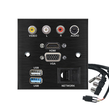 Aluminum alloy Welding free extension cord socket panel VIDEO L R AUDIO HDMI VGA USB NETWORK patch board  connector