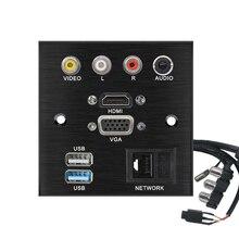 Hợp Kim Nhôm Hàn Giá Rẻ Dây Nối Dài Ổ Cắm Bảng Điều Khiển VIDEO L R Âm Thanh HDMI VGA USB Patch Ban Đầu Kết Nối