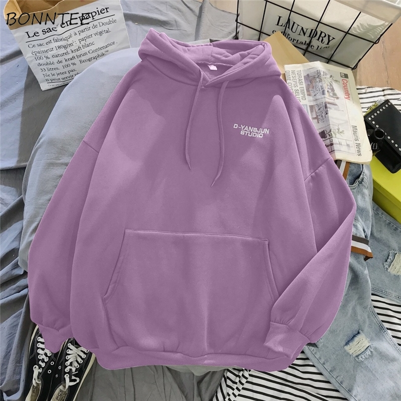 Hoodies Women Letter Embroidery Velvet Big Pocket Solid Hooded Thickening Pullover Womens Loose Simple All-Match Students BF New