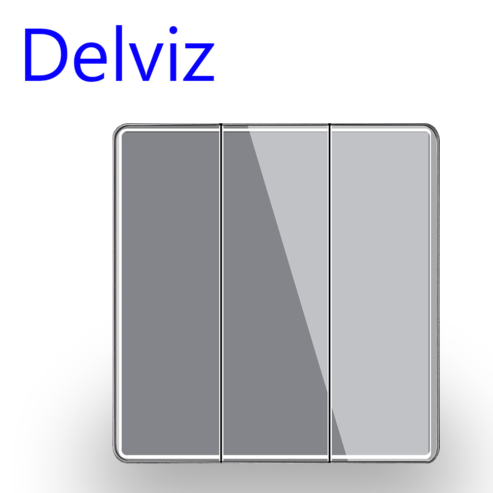 Delviz UK Standard 16A Switch, Grey Crystal glass panel, Embedded stairs button switch, 3 Gang 2 Way Household Wall Light Switch