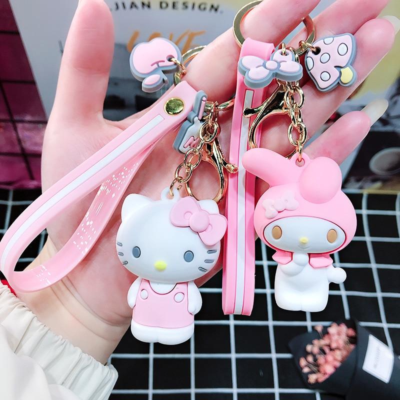 Cartoon Cute Little Yellow Duck Keychain Hello Kitty Keychain Lady Girl Charm Bag Pendant Keychain Car New Key Ring Jewelry Gift