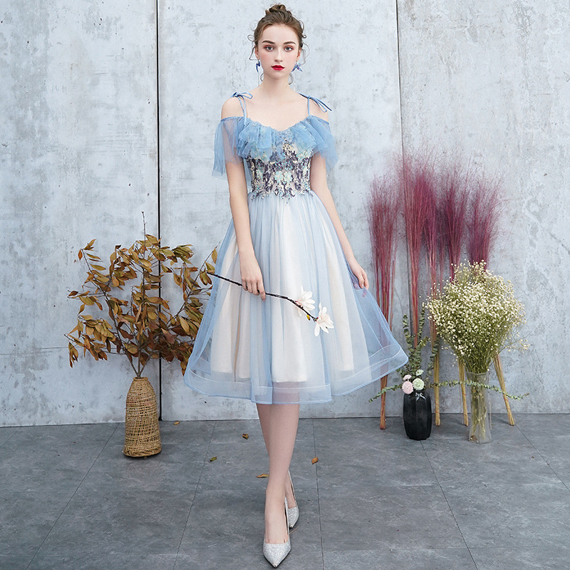 Elegant Bridesmaid Dresses Appliques Ruffles Spaghetti Straps Bow Knee-Length Tulle Wedding Guest Dresses Vestido De Festa 2020