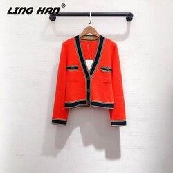 LINGHANFashion, тонкий кашемировый кардиган, свитер для женщин, v-образный вырез, высокое качество, кардиганы для девушек, Элегантный Новый женский ...